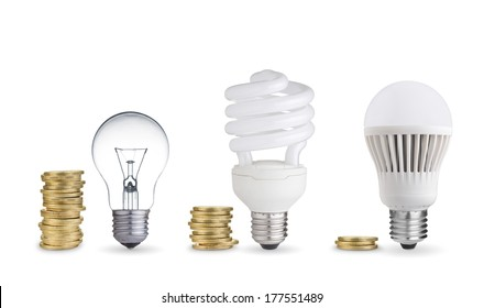 money spent in different light bulbs.Isolated on white