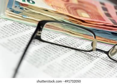 Money and spreadsheet