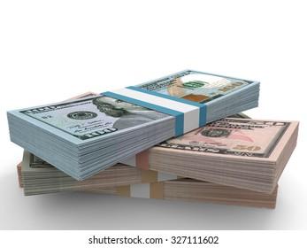 Money stack. Different dollar bank notes.3D illustration.