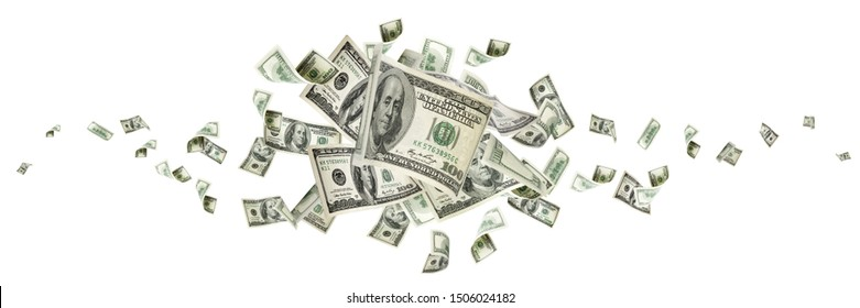 Money stack. Hundred dollars of America. Falling money isolated, us bill.