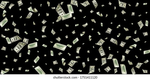 Money stack. Hundred dollars of America. Falling money isolated, us bill black background.