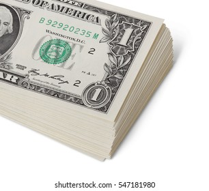 Money stack isolated with clipping path