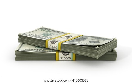 Money Stack - Isolated on White Background. 3d illustration