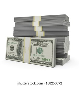 Money stack on the white background