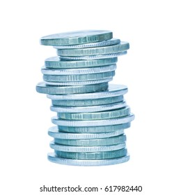 Money. Stack of Russian rubles coins, isolated on white background
