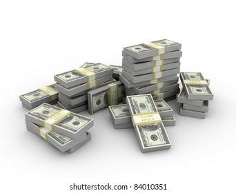 Money stacked on white