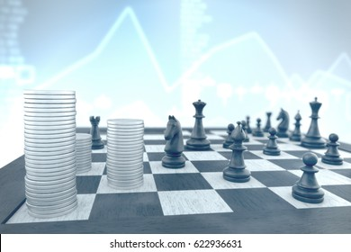 Money stacks attacked by black chess pieces on a blue stocks background