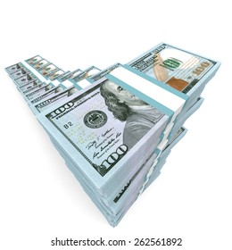 Money stacks graph. New one hundred dollars. 3D illustration.