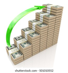 Money stacks graph. One hundred dollars with the design of information related to business and economy. 3d illustration