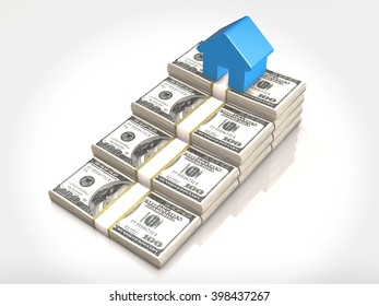 Money stacks and house symbol.3D rendering