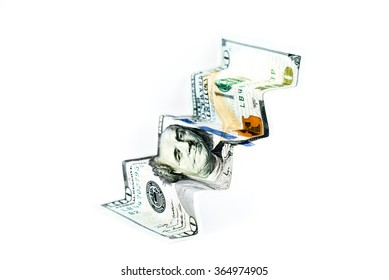 Money staircase Origami made from One Hundred United States Dollar (USD) banknote/bill isolated on white background. Business growth conceptual background