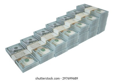 money stairway from dollars isolated on white background