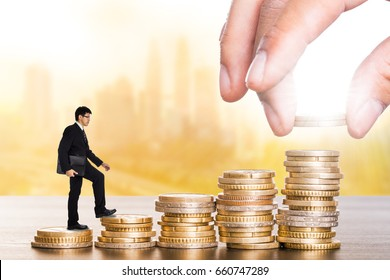 Money step growing up with your coins for success with your business.