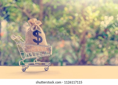 Money supply / stock of currency or liquid instruments concept : Cash in a dollar bag in a silver shopping basket or push trolley on a table, depicts the liquidity of money in the economy of a country