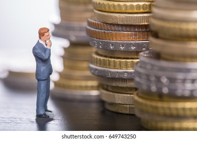 Money thinking business with stack money coin