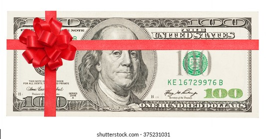 Money tied red ribbon with bow