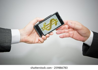 Money transfer in dollars with mobile phone concept, close up