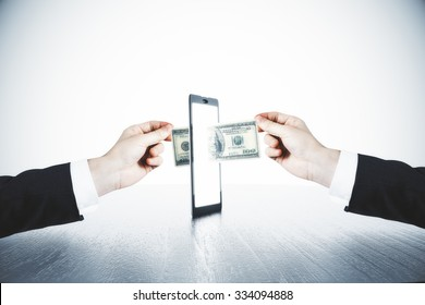 Money transfer with man hands and digital tablet concept