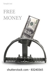 Money trap, with hundred dollars on a white background. made in 3d software. (free money)