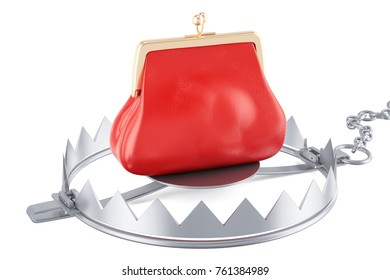 money trap with red purse, 3D rendering isolated on white background