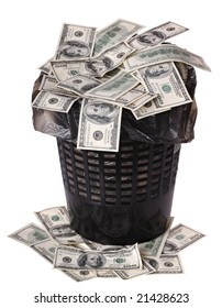 A money is in a trash bucket. Isolated.