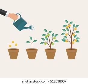 Money Tree, Financial Growth Flat Concept  Illustration