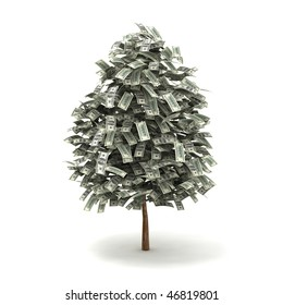 money tree made of hundred dollar bills, isolated on white background