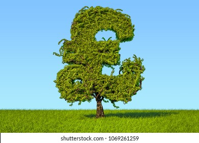 Money tree in the shape of a pound sterling symbol on the green grass against blue sky, 3D rendering