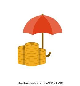 Money under umbrella flat icon. Money protection