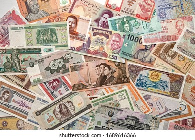Money from various countries. A collection of bills
