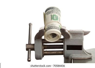 money in the vice tool isolated on white
