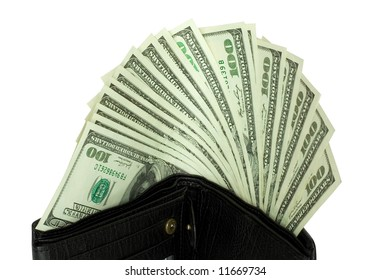 money in wallet isolated on white