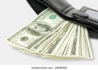 money with wallet isolated on white backgound