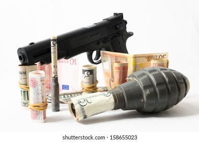 Money and Weapons Concept Weapons and Money on a White Background