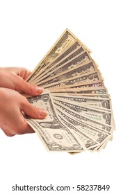 Money in woman's hand isolated on white background