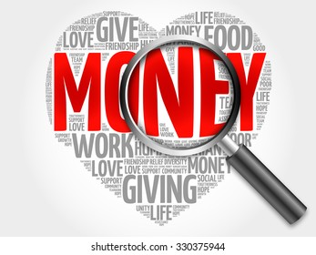 Money word cloud with magnifying glass, concept