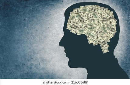Money and your brain / outline of a man's head with the brain in the shape of money