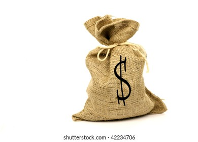 moneybag with a dollar sign on a white background