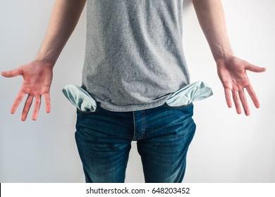 Moneyless Concept. Male Shows Empty Pockets