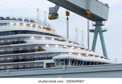 MONFALCONE, Italy - March 27, 2018: Close-up of the prow of the Carnival Horizon giant cruise ship in the Monfalcone shipyards the day before its delivery