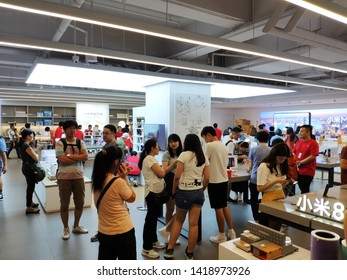 Mong Kok, Hong Kong - May 19, 2019 : Mi Home shop in Hong Kong. The store of Xiaomi Brand. There are many hi-tech gadgets, IoT, smartphone and smart devices
