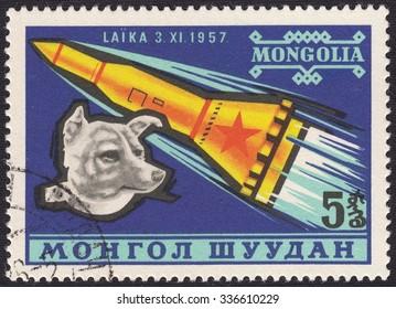MONGOLIA - CIRCA 1957: stamp printed by Mongolia, shows Laika-space dog, circa 1957
