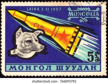 MONGOLIA - CIRCA 1957: stamp shows Laika-space dog, circa 1957