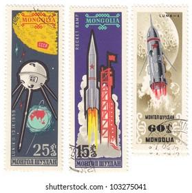 MONGOLIA - CIRCA 1959: A stamp set  printed in Mongolia shows spaceships, circa 1959.