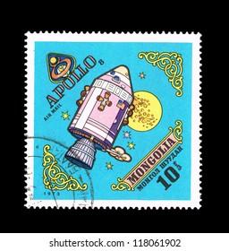 MONGOLIA - CIRCA 1973: A stamp printed by Mongolia shows Apollo 8, circa 1973