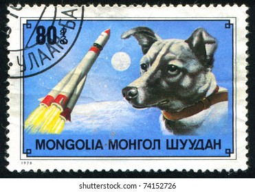 MONGOLIA - CIRCA 1978: stamp printed by Mongolia, shows Laika (1st dog in space) and rocket, circa 1978.