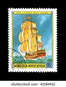 MONGOLIA - CIRCA 1981: Mongolian postage stamp depicts the tall ship of the explorer J. Cook.