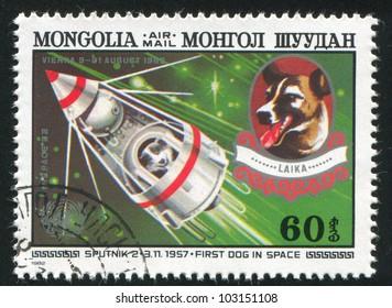 MONGOLIA - CIRCA 1982: stamp printed by Mongolia, shows Sputnik 2 and Laika, circa 1982