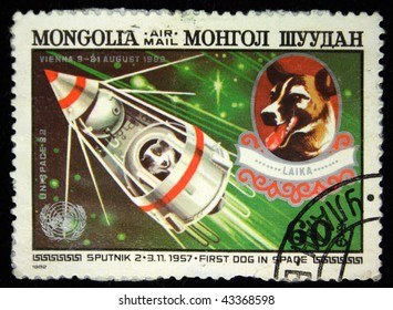 MONGOLIA - CIRCA 1982: A stamp printed in Mongolia shows Laika - first dog in space, circa 1982