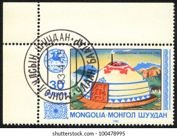 MONGOLIA - CIRCA 1983: A stamp printed in MONGOLIA   shows Yurt, from series  Culture of Mongolia, circa 1983